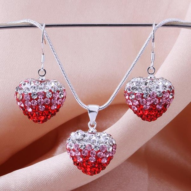 Austrian Stone Multi-Pave Heart Earring and Necklace Set - Red Fusion
