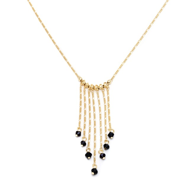 Gold & Black Crystal Drop Necklace