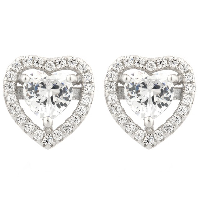 Sterling Silver Simulated Diamond Halo Set Heart Shaped Earrings