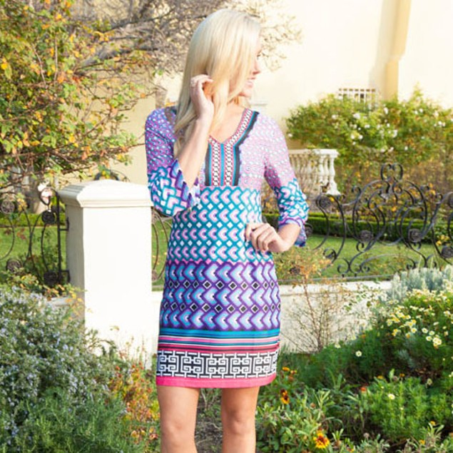 Audrey Teal and Purple Printed Dress