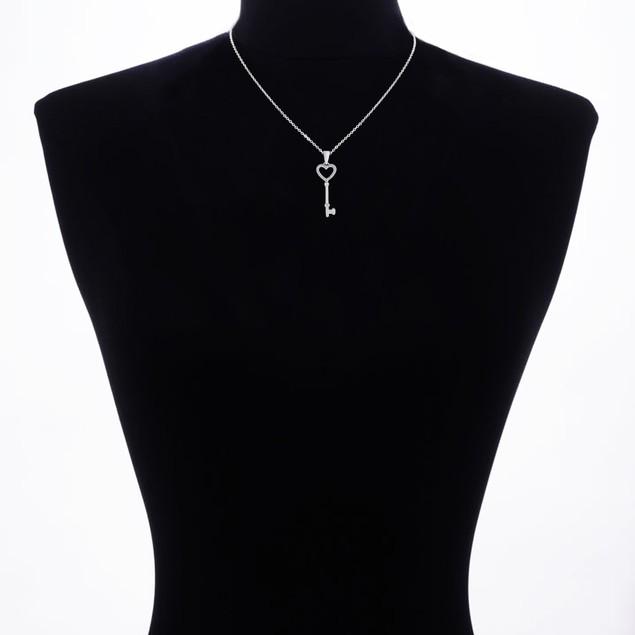 Heart Shaped Diamond Key Pendant