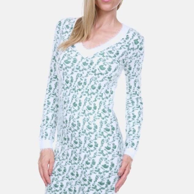 White Mark Green Leopard Sweater Dress