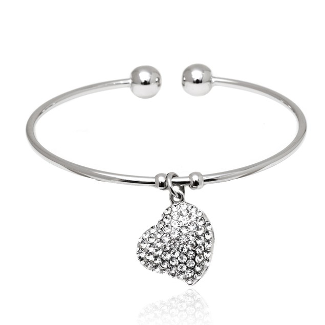 Silver & Crystal Heart Charm Cuff Made with SWAROVSKI ELEMENTS