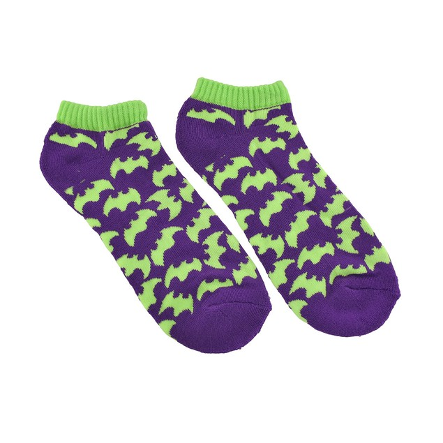 Large Women`S Purple And Lime Green Bat Heavy Womens Socks
