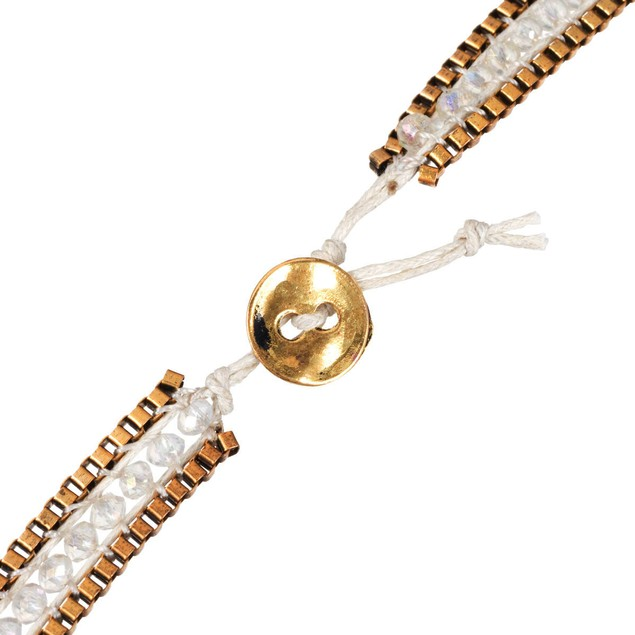 White Crystal & Gold Tone Box Chain Wrap Bracelet