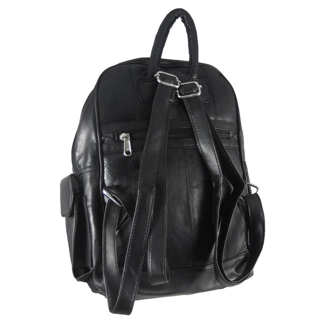 Large Black Lambskin Leather Backpack Purse Basic Multipurpose Backpacks