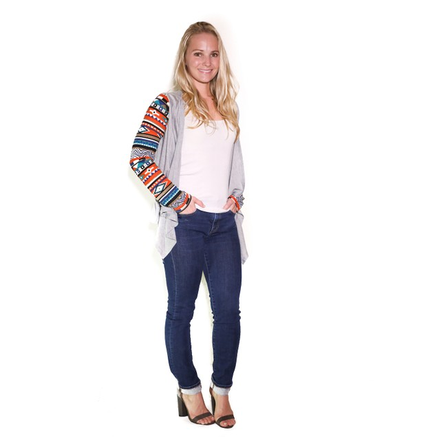 Print Sleeve Colored Cardigan – Sizing up to 3XL