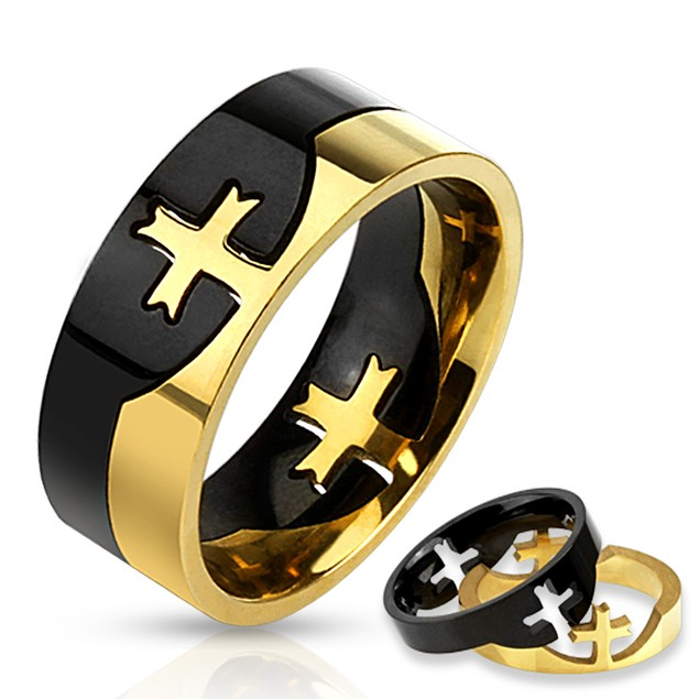 Cross Puzzle Two Tone Ring Stainless Steel