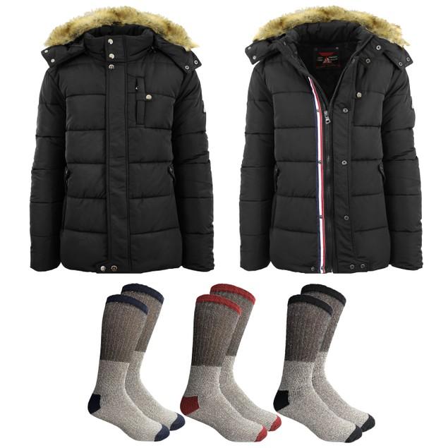 Men's Heavyweight Jacket With Detachable Hood w/ 3 Pair of Thermal Socks