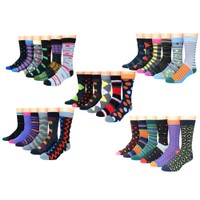 Deals on 12-Pairs Premium Cotton-Blend Colorful Patterned Dress Socks