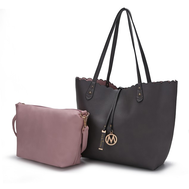 MKF Collection Amahia Reversible Tote Shoulder Bag w/ Cosmetic Pouch