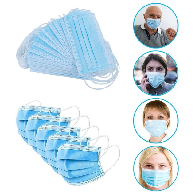10/50/100-Pack High Quality FDA/CE Approved 3-Ply Disposable Face Mask