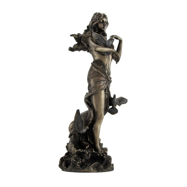 Bronzed Aphrodite With Doves On Scallop Shell Statues