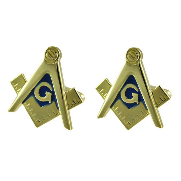 Gold Plated Masonic Compass & Square Cufflinks Mens Cuff Links