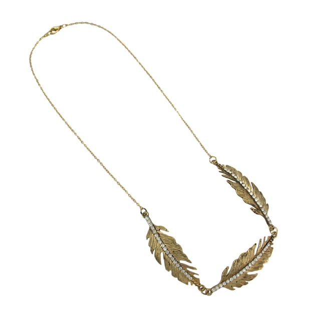 Burnished Gold Feather Necklace With Rhinestone Chain Necklaces