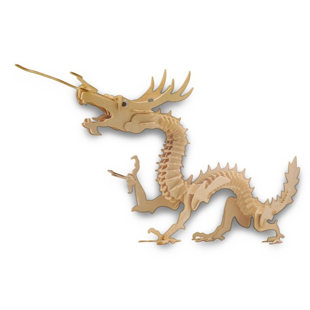 Large 37 Inch X 19 Inch Asian Dragon 3-D Wooden Jigsaw Puzzles