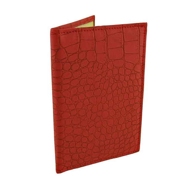 Red Mock Croc Textured Vinyl Passport Cover Passport Holders