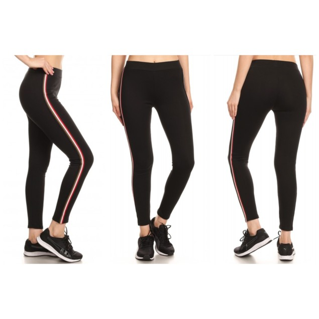 Women's Cotton Blend Side Stripe Leggings