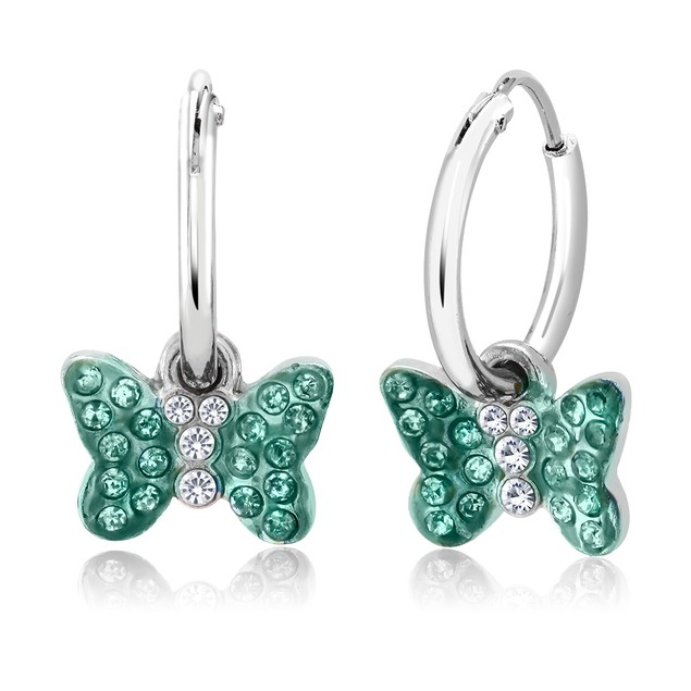 Crystal Drop Butterfly Earrings - 4 Colors