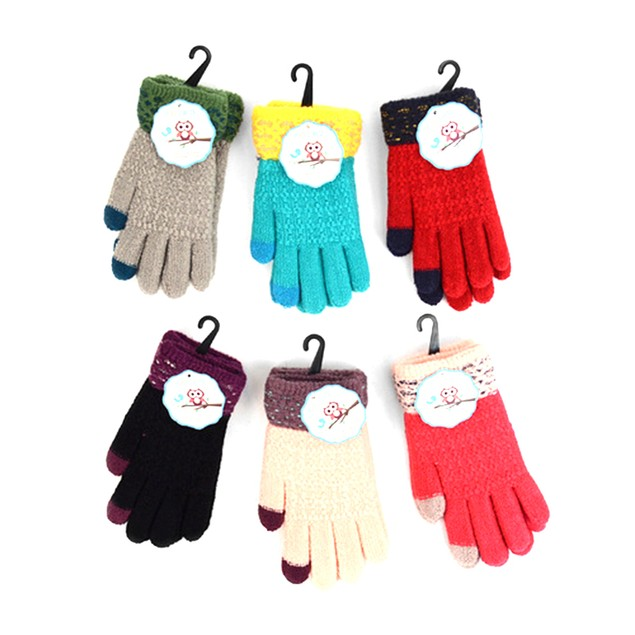 3-Pack Junior's Two-Tone Knit Winter Gloves