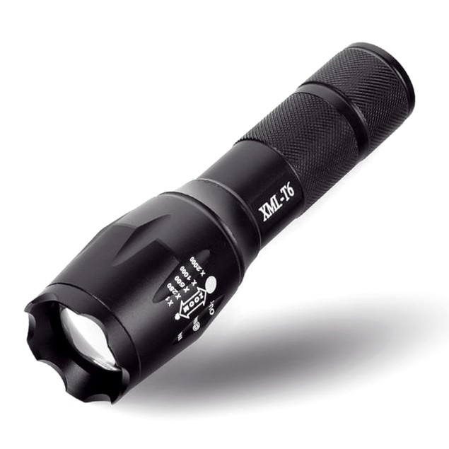 X800 Zoomable XML T6 LED Tactical Flashlight with Battery, Charger & Case