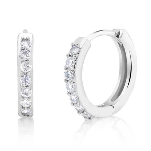 Cubic Zirconia Silver Plated Huggie Earrings