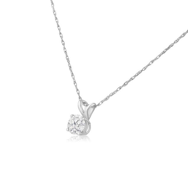 14k White Gold 1/3 Carat Genuine Diamond Solitaire Necklace