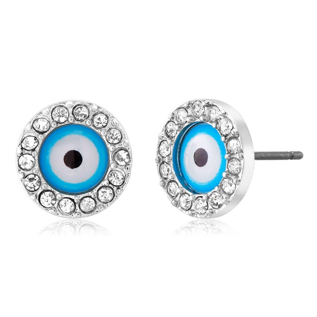 Cubic Zirconia Evil Eye Stud Earrings - 3 Styles