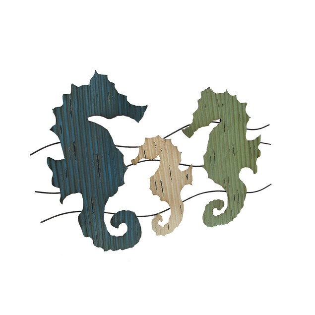 Corrugated Metal Seahorse Wall Hanging 35 X 23 Wall Sculptures