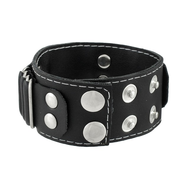 Winged Skull Black Leather Wristband Biker Punk Mens Leather Bracelets