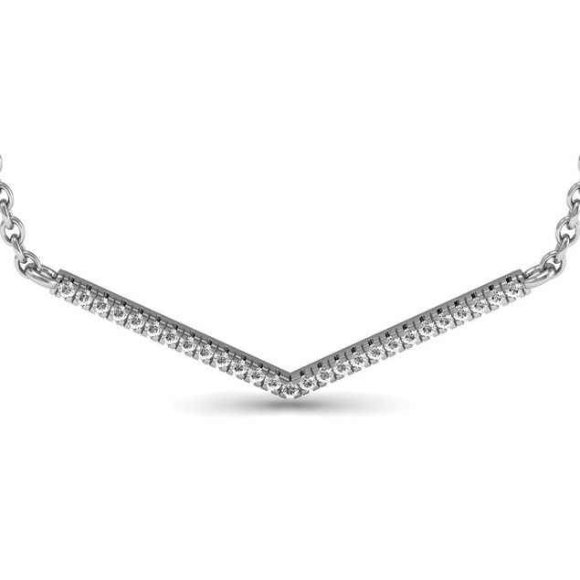 Sterling Silver 1/5ct V Bar Diamond Necklace