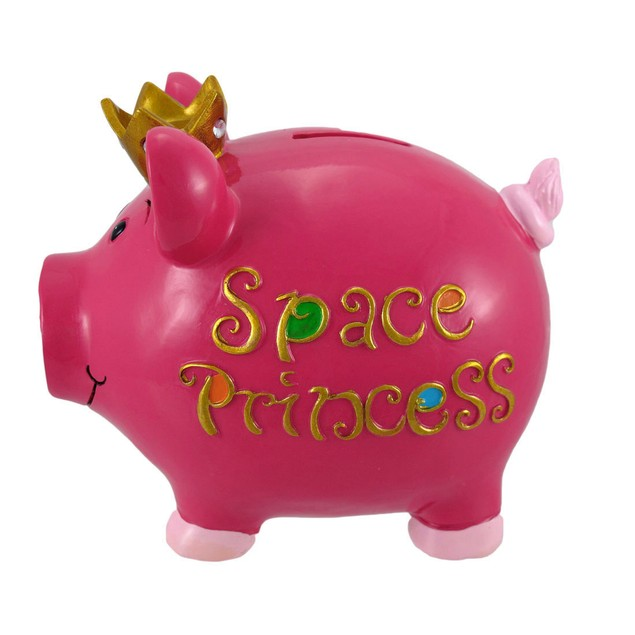 Hot Pink `Space Princess` Piggy Bank Girls Toy Banks
