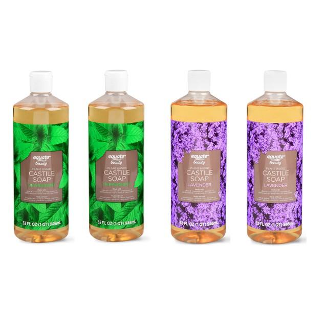 4-Pack Equate Beauty Castile Soap, Lavender+Peppermint, 32 Oz
