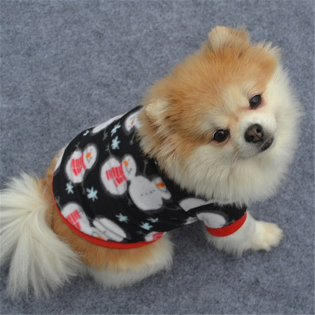 Christmas Dog Snowman Warm Pullover Embroidered Clothes