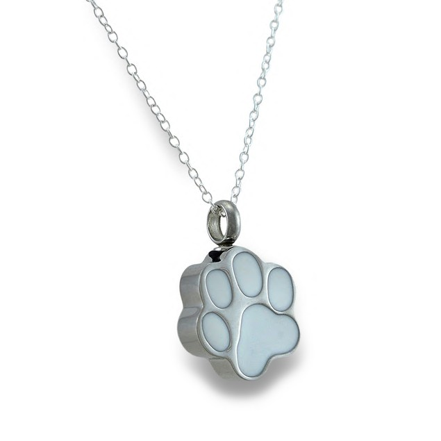 Stainless Steel Dog Paw Print Keepsake Vial Womens Pendant Necklaces