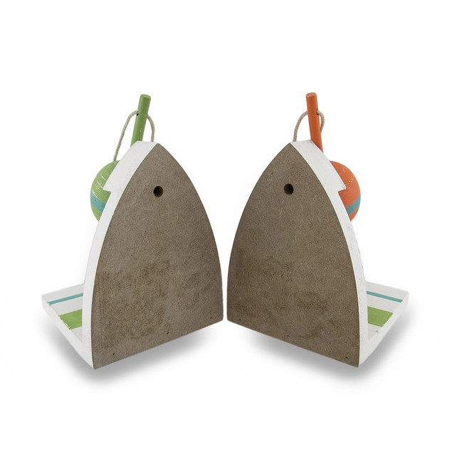 Wooden Orange And Green Nautical Floater Bookends Decorative Bookends