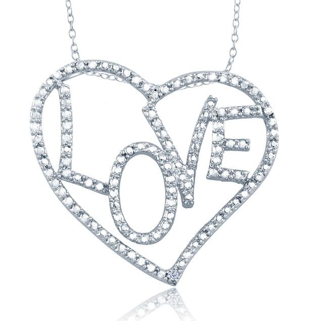 1/10cttw Diamond Accent Fancy Hearts Necklace