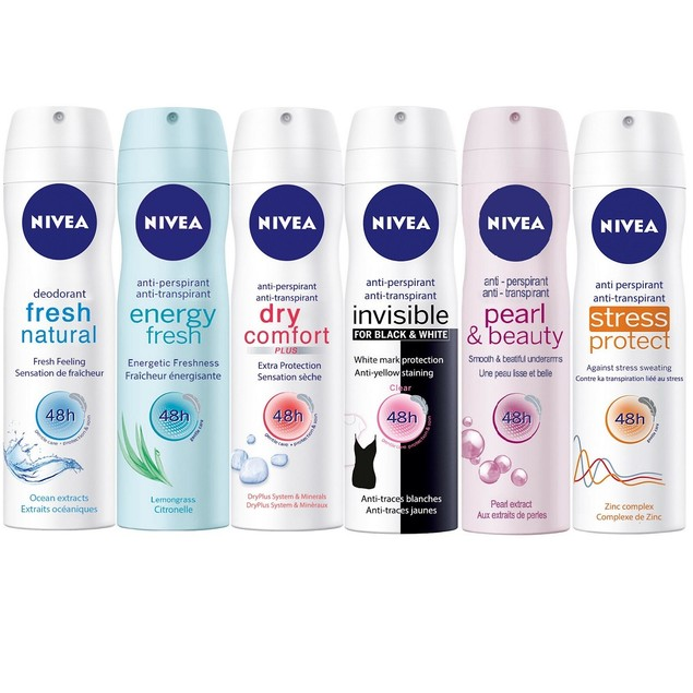 6-Pack Assorted Nivea Deodorant Antiperspirant Spray