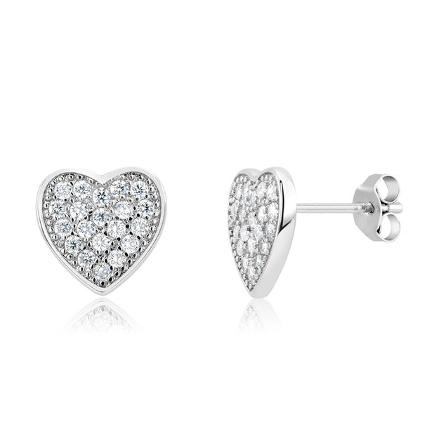 Gold Plated Crystal Heart Stud Earrings