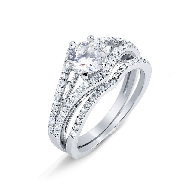 Sterling Silver Cubic Zirconia Wedding Ring Sets - 7 Styles