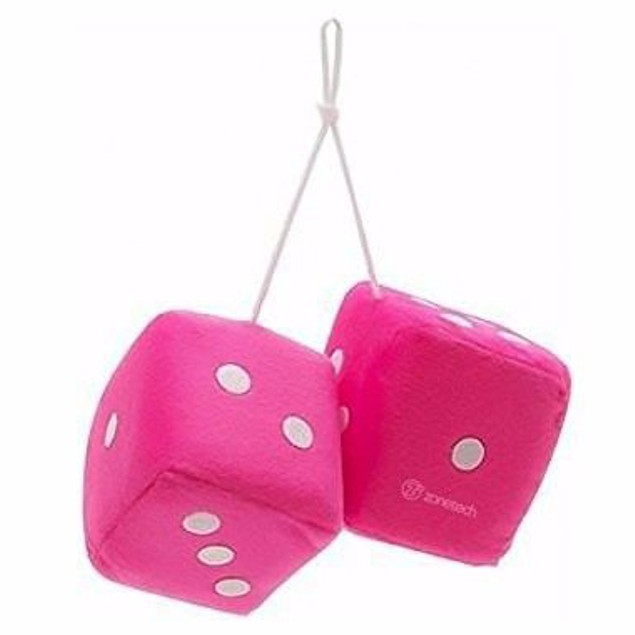 "Zone Tech Hanging Car Mirror 2.75"" Fuzzy Plush Dice - 6 Color Options"
