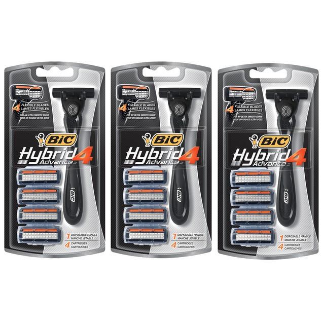 3-Pack BIC Hybrid 4 Advance 1 Disposable Razor