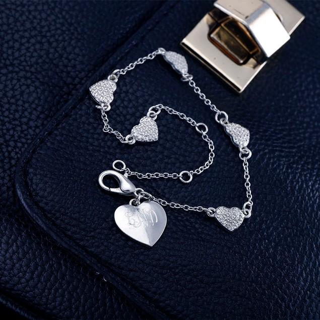 Personalized Heart Charm Bracelet