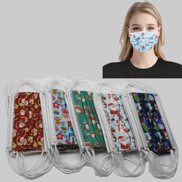 Disposable Holiday Themed Face Masks (50-Pack)