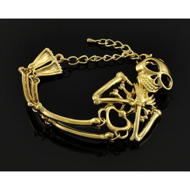 Goldtone Articulated Skeleton Bracelet Womens Bangle Bracelets