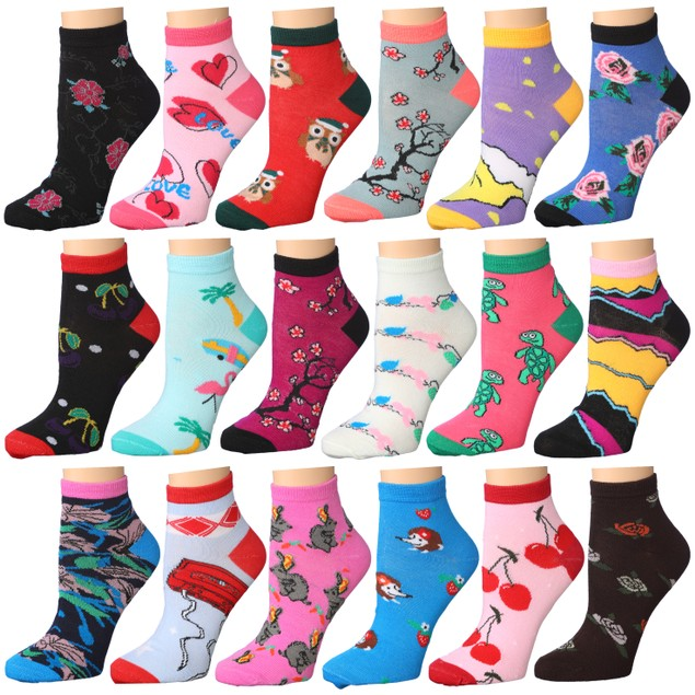 18-Pairs: Women's Fun Patterned No Show Ankle Socks