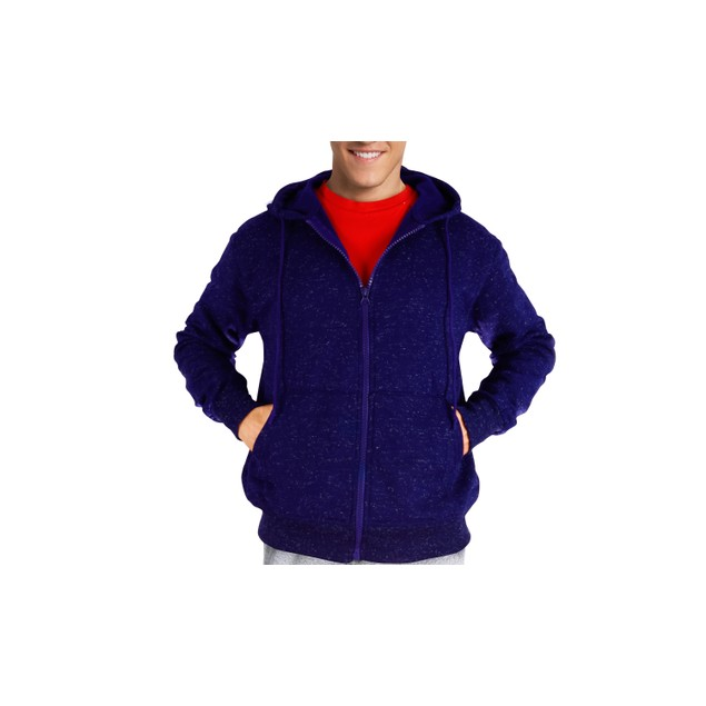 Mens Moisture Wicking Fleece-Lined Full-Zip Up Marled Jacket w/ Hood (M-2X)