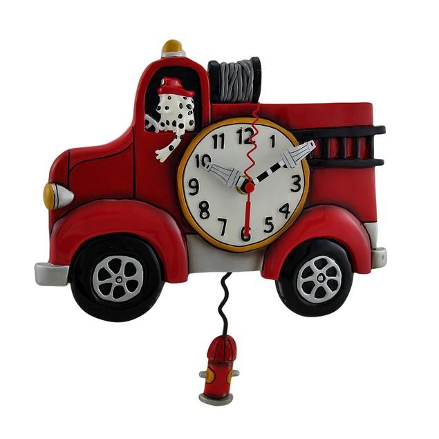 Allen Designs Red Fire Engine Pendulum Wall Clock Wall Clocks