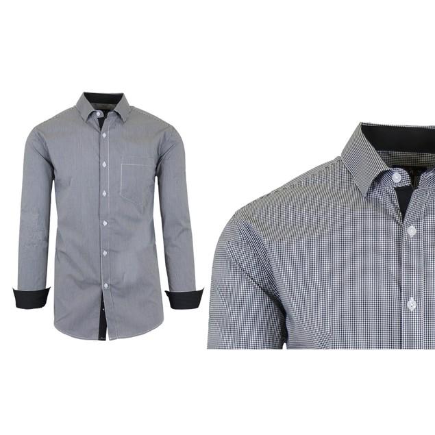 Long-Sleeve Slim-Fit Cotton-Stretch Checkered & Plaid Dress Shirts (S-2XL)