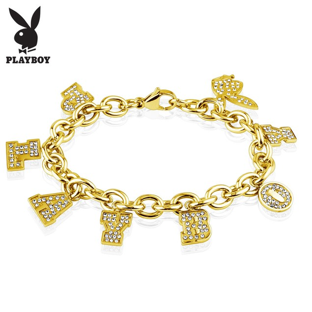 Playboy Gems Stainless Steel Charm Bracelet